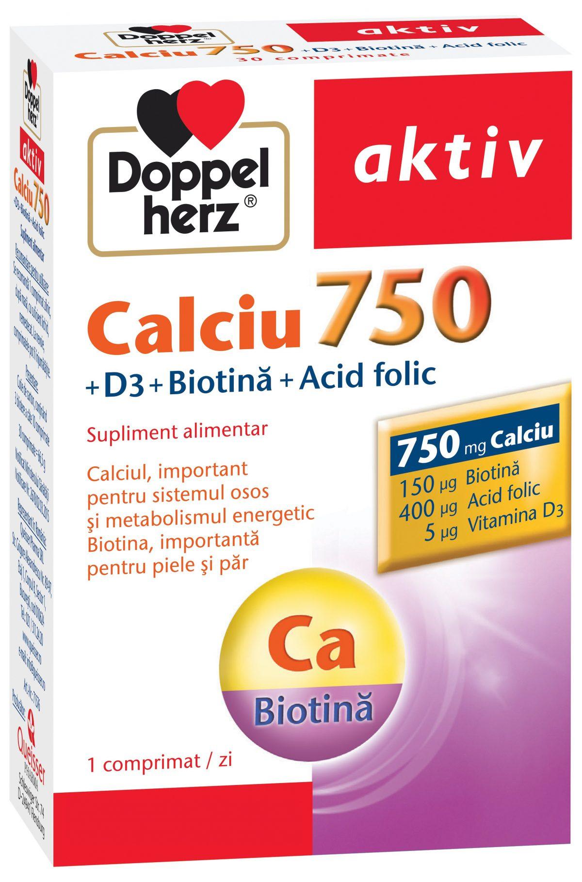 Calciu 750 + D3 + Biotină + Acid Folic