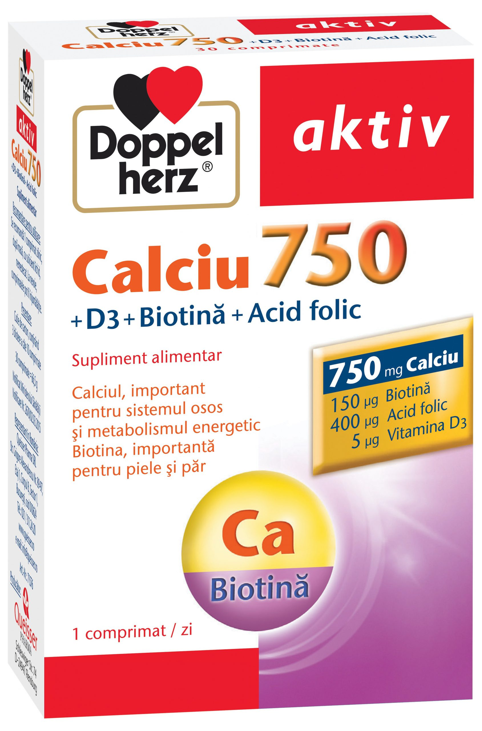 Calciu 750 + D3 + Biotină + Acid Folic