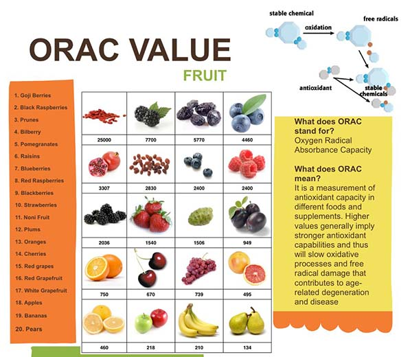 Scala ORAC ale antioxidantilor