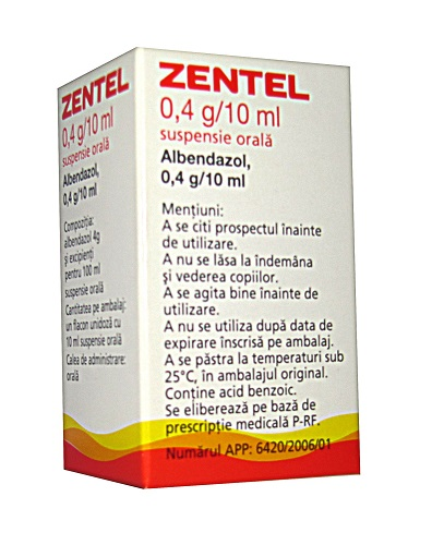 Prospect Zentel 0,4 g/10 ml, suspensie orală | Viermi Paraziti
